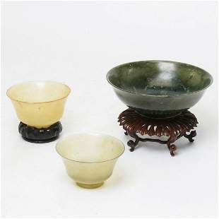 A Spinach Jade Bowl and Two Chinese Serpentine Cups.