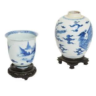 Chinese Blue and White Porcelain Jar and Cup.