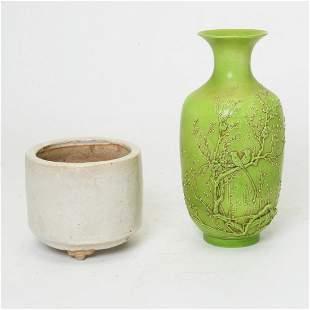 A Chinese Monochrome Porcelain Vase and Tripod Censer.