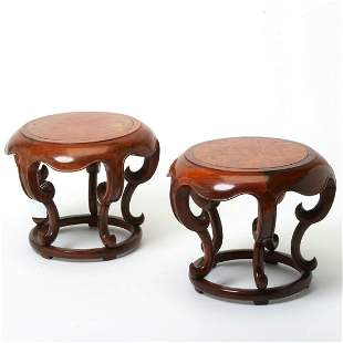 Pair of Chinese Carved Rosewood and Burl Wood Stands.