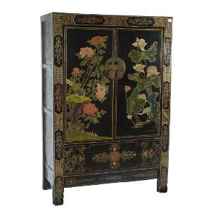 Large Polychrome Painted Lacquer Cabinet.