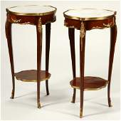 Pair of Louis XV Style Dore Bronze Mounted Side Tables