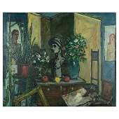 """Walter Emerson Baum """"The Studio"""" oil on masonite"""