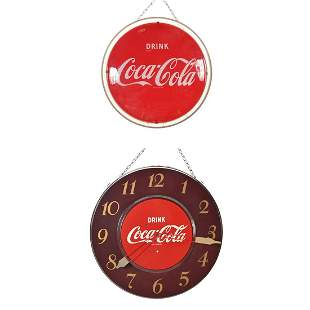 Two Coca-Cola Advertising Articles: Sign and Clock.