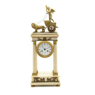 French Neoclassical Alabaster and Bronze Portico Clock.