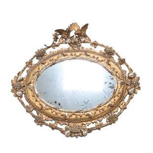 Antique French Carved Silvered Giltwood Framed Oval