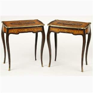 Pair of Louis XV Style Marquetry Inlaid Rectangular