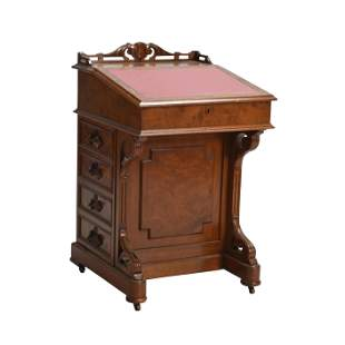 Late Victorian Burl and Mahogany Davenport Desk, Carved