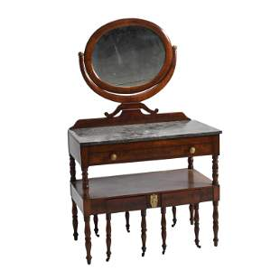 19th Century American Empire Mahogany Veneer Dressing