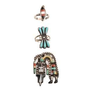 Collection of Three Native American Multi-Stone, Silver
