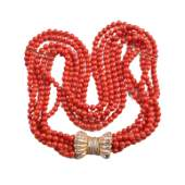 *Red Coral Bead, Diamond, 14k Gold Necklace.