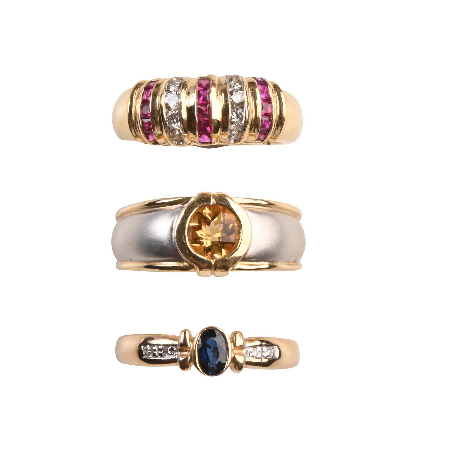Collection of Three Multi-Stone, Diamond, 14k Yellow