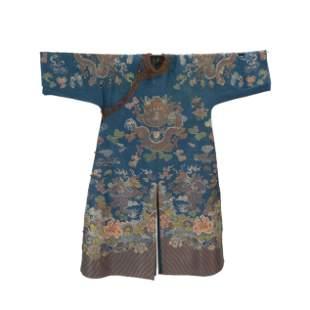 Chinese Blue Ground Kesi Silk Dragon Robe.