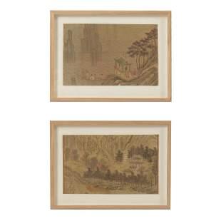 Pair of Framed Korean Landscape Paintings.