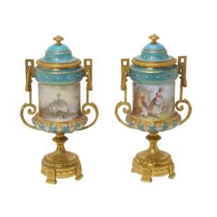 Pair of Sevres Style Porcelain Cassoulet Vases