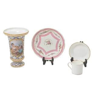 Four Sevres Style Porcelain Articles including a Vase.