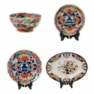Seven English Porcelain Imari Decorated Table Articles