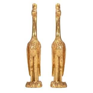 Pair of Regency Style Giltwood Cranes. Each standing on