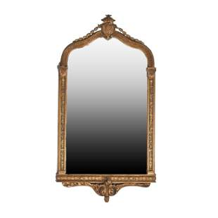 Regency Style Carved Giltwood Wall Mirror. Shield form