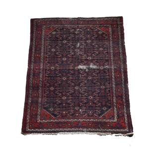 Persian Wool Rug. Dark blue ground with red main