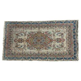 Persian Wool Rug. Large central medallion on a sparse