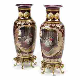 Pair of Monumental Sevres Style Porcelain Vases on Dore