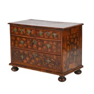 William and Mary Oyster Veneered Laburnum Chest of