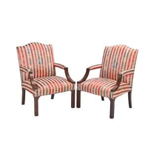 Pair of George III Style Mahogany Armchairs