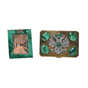 Russian Interest Malachite Mounted Box and Frame.
