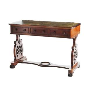 Victorian Mahogany Leather Top Library Table