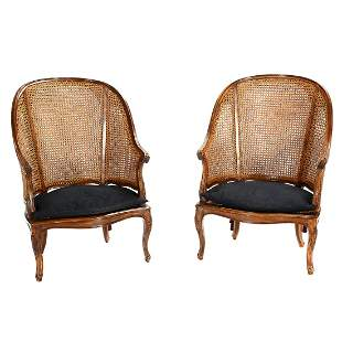 Pair of Caned Armchairs.