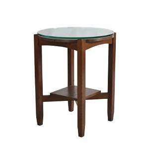 Mission Oak Round Two Tier Table.