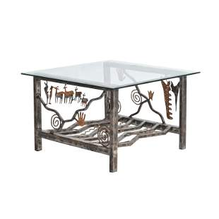 Modern Mixed Metal and Glass Sculptural Table.