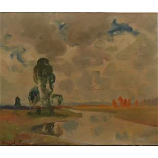 "Peter Ilyin ""Untitled River Landscape"" oil on canvas"