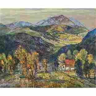 """Dorothy Baugh """"Mountain Scene"""" oil on canvas"""