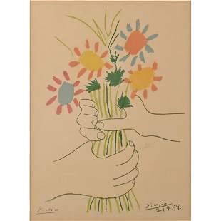 """After Pablo Picasso """"Bouquet des Fleurs"""" Offset Litho"""