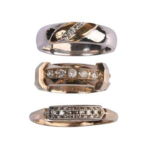 Collection of Three Diamond, 14k Gold Bands.