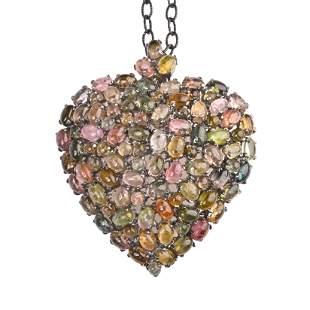 Tourmaline, Sterling Silver Pendant Brooch Necklace.