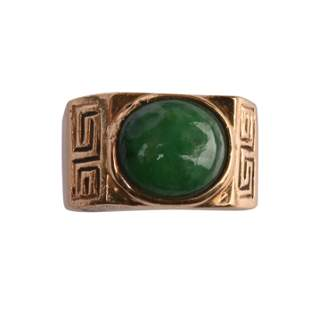 Jade, 14k Yellow Gold Ring.