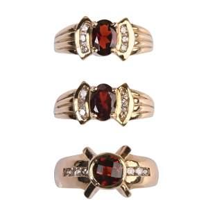 Collection of Three Garnet, Diamond, 14k Yellow Gold