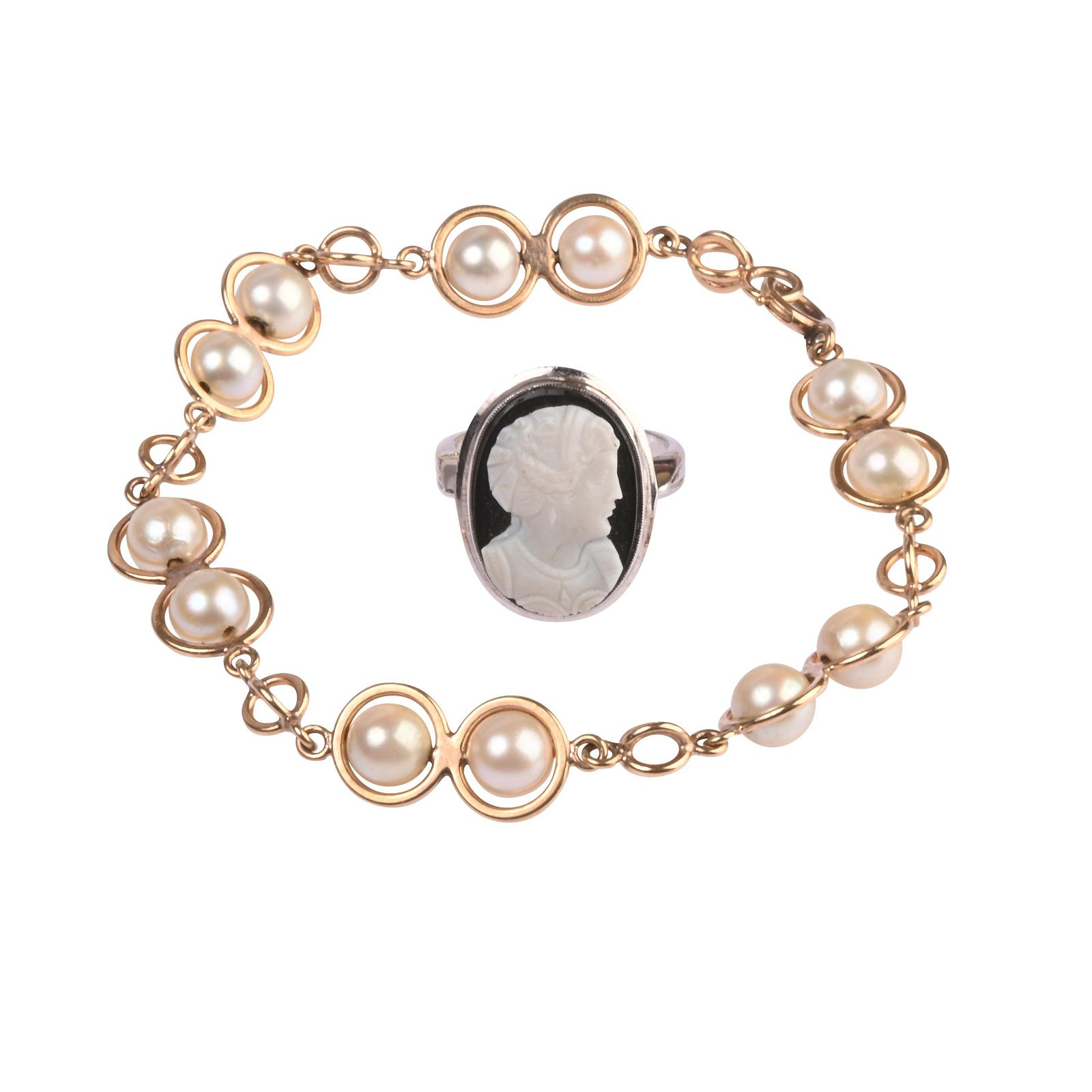 Collection of Two Cultured Pearl, Black Onyx, 14k Gold