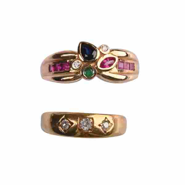 Collection of Two Multi-Stone, Diamond, Yellow Gold
