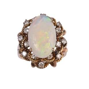Opal, Diamond, 14k Yellow Gold Ring.