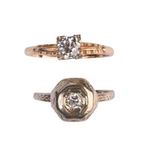 Collection of Two Diamond, 14k Gold Rings.