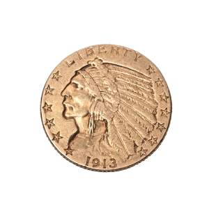US 1913(S) $5.00 Indian Head Gold Coin