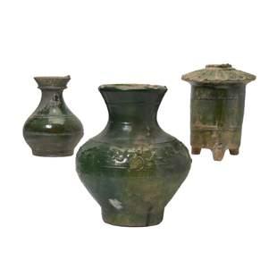 Three Chinese Green Glaze Pottery Items.