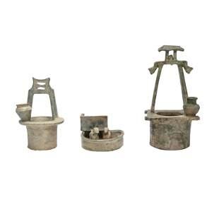 Three Han Dynasty Green Glaze Pottery Items