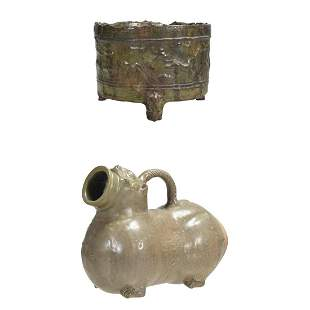 Two Han Glazed Pottery Footed Vessels.