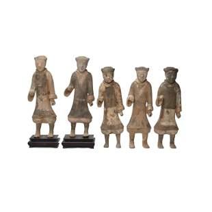 Group of Five Han Dynasty Unglazed Figures.