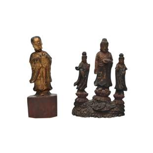 Two Chinese Carved Wood Figures.